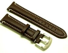 22mm Drak Brown/White Leather Replacement Watch Strap - Nautica 22 Watches