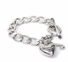 Juicy Couture Bracelet Classic Starter Puff Heart J Charms Silvertone NEW