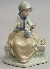 LLADRO NAO GIRL FLOWERS DOVES BIRDS FIGURINE MINT CONDITION ON BENCH