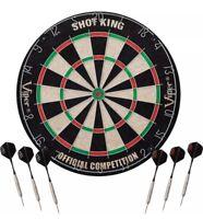"Viper SHOT KING Sisal Fiber Bristle Dartboard Official 18"" Steel Tipped 6 DARTS"