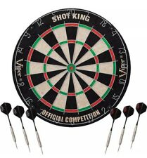 "Viper SHOT KING Sisal Fiber Bristle Dartboard Official 18"" Steel Tipped 6 DARTS"