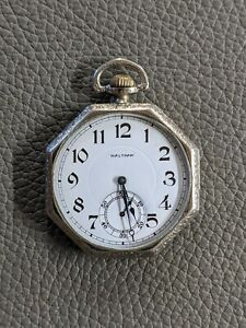 Beautiful Waltham Pocket Watch 12s 7J Octagon White GF Case Run's well! 1917