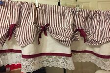 Springs Striped Shabby Balloon Lace Valance 60in x 13in (153cm x 33cm) Burgundy