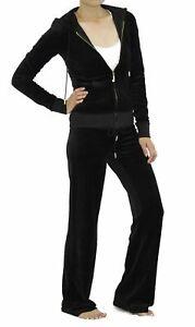 Juicy Couture Pitch Black BLING J Velour Tracksuit Hoodie & Bootcut Pants Medium