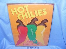 Metal Tin Advertising Cafe Pub Sign Hot Chilies - Spice