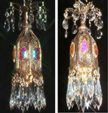 jeweled Tulip lily filigree SWAG hanging Crystal lamp chandelier Vintage brass p