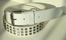 GOTH PUNK SILVER STUD STUDDED WHITE SNAP ON BELT M 34 NEW
