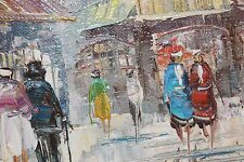 ONE OF TWO OIL PAINTINGS ON CANVAS PARIS SCENE SIGNED T.CARSON VER GOOD