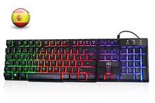 Rii RK100+ Gaming Teclado Retroiluminado con 5 Colores Arco Iris Tacto Mecanico