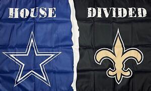 New Orleans Saints vs Dallas Cowboys House Divided Flag 3x5 ft Banner Man-Cave