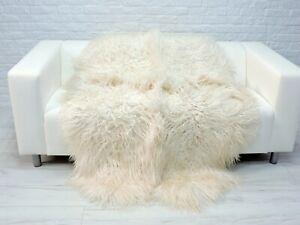 CREAM WHITE QUAD CURLY SHEEPSKIN RUG GENUINE ICELANDIC BED SOFA THROW SOFT QWC