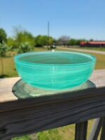 "Murano Style Art Glass 8.5"" Aqua Blue Glass Serving Bowl w/ White Swirls"