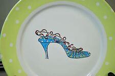"Rosanna High Heels Stiletto Shoes - 8"" Dessert Plate Yellow/Lime Green Polka Dot"