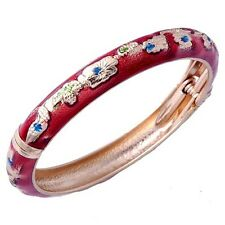 70mm Vintage Authentic Red Enamel Gold Filled Womens Charm Cuff Bangle Bracelet