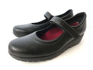 MUNRO AMERICAN US 9.5M Black Smooth Leather Mary Jane Medium Wedge Heel Shoes