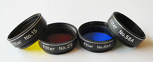 "Set of 4 Superior Quality Yellow Red Blue Green 1.25""  Filter for Telescope SALE"