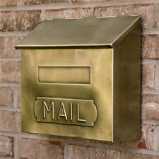 "Signature Hardware Horizontal ""MAIL"" Wall Mount Brass Mailbox in Antique Brass"