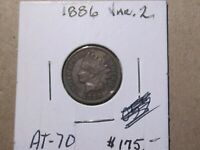 1886 (T2)  Indian Head cent - Extra Fine+ cond - Full LIBERTY   Lot # AT-70