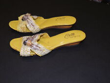 1950's Yellow Straw/ Wood Etell Wedge Mules / Sandals Sz 7 - 7 1/2 B