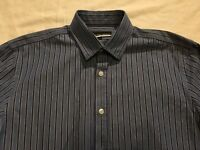 AUSTIN REED mid and dark blue and white striped long sleeved shirt size S small
