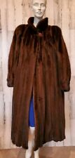 Knee length Swing Real saga mink Fur Coat dark brown Sz L- XL