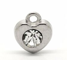 10 SILVER TONE CLEAR CRYSTAL HEART CHARM/PENDANT 10mm x 11mm