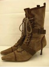 DIESEL Women's EVEREST Leather Mid-Calf Brown Neon Green Stiletto Boots Sz 7