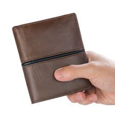Men's Genuine Leather Wallet Coin Purse Card Case Retro Trifold Wallets