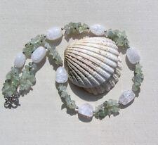 "Green Prehnite & Crackled Clear Quartz Crystal Gemstone Necklace ""Lismore Mist"""