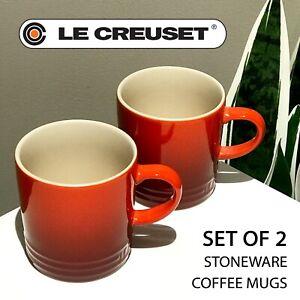 SET OF 2 - New Le Creuset Stoneware Coffee Mug 12 oz, 350 ml Shiny Cerise Red