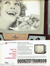 PUBLICITE ADVERTISING 106  1958  Thomson téléviseur Orthovision