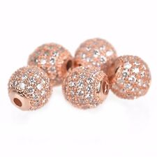 2 Rose Gold Micro Pave' Round Beads w/ Cubic Zirconia Crystals, 8mm, bme0427