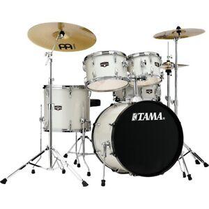 """TAMA Imperialstar 5-Piece Complete Drum Set w/Meinl cymbals, 20"""" Bass White Sprk"""