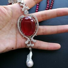 "K110102 19"" 2Stands Red Agate Necklace Keshi Pearl CZ Pendant"