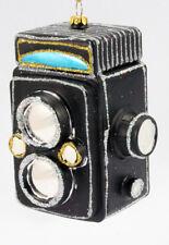 Christmas Ornament, Twin Lens Camera, Black, Glass