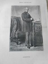 Gravure 1869 - Portrait de M. Lamartine