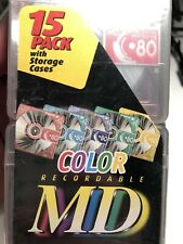 Fuji Film 15 Pack Color Recordable Minidisc MD 80 Minutes Brand New Sealed MD