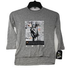 Art Class Girls Size XS 4/5 Long Sleeve Gray Peace Sign T-Shirt
