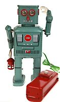 Lantern Robot & Remote Classic Retro Battery Robot Blows Smoke Lights & Walks  !