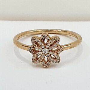 Authentic Pandora Lace Botanique 14k Gold Statement Ring 150182CZ