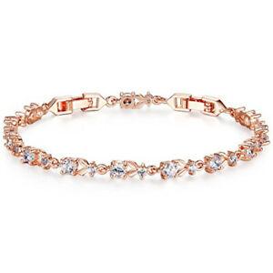 Fashion Womans White Round Zircon Rose Gold Bracelet Valentine'S Day Jewelry