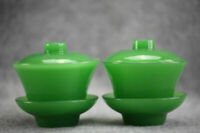 A pair of beautiful green glass Gaiwan lid bowls teacups