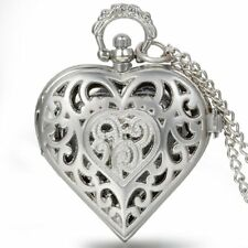 Heart Locket Pendant Arabic Numerals Pocket Watch Necklace for Women Girls Gift