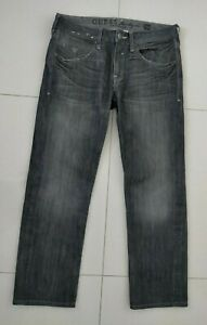 Guess Men's Grey Lincoln Slim Straight Denim Jeans Size 32