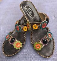 Spring Step Ambrosia Leather Sandal Sz 39/8.5 Amethyst Jeweled Floral Boho Chic