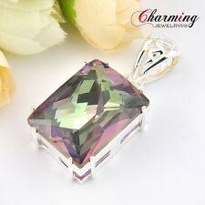 Huge Square Rainbow Mystical Fire Topaz Gems Silver Necklace Pendant 2 Inch