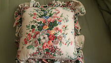 "Croscill English Garden Floral Ribbon Ruffled 16"" Throw Pillow Pink Ivory Gray"