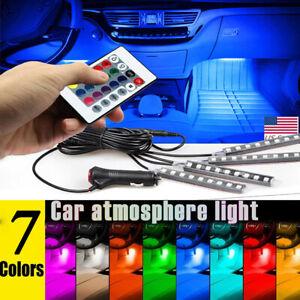 4x LED RGB Fußraumbeleuchtung Auto KFZ Innenraum Ambientebeleuchtung USB Leisten