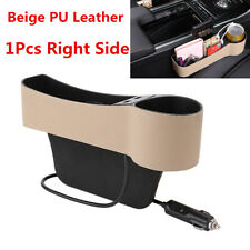 Car Right Side Seat Gap Crevice Storage Box 2-USB Beige PU Leather Accessories