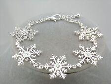 Silver Snowflake Bracelet Rhinestone Center Fashion Jewelry NEW